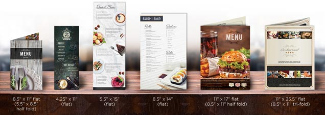 menu printing custom menus printed with many unique options