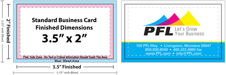 Business card size specifications and dimensions for Visiting card size in inches