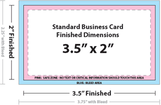 Business card size specifications and dimensions reheart Gallery