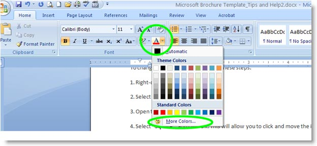 Changing Font Color In Word