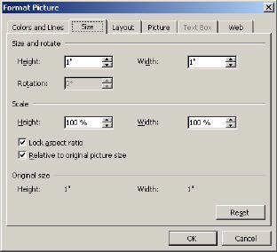 changing picture size menu in Word