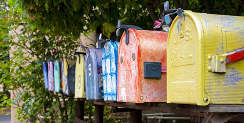 colored mailboxes