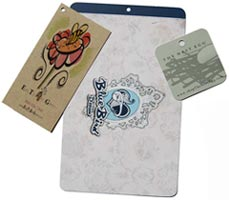 Nested pre-punched die-cut product hang tags