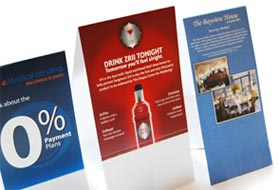 Table Tent Printing Custom Table Tents - 3 sided table tents