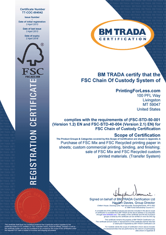 FSC Certificate for PrintingForLess