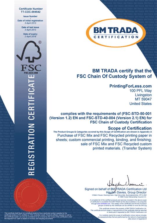 fsc printingforless certificate certification