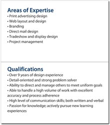 Expertise And Qualifications. Mini Resume Content