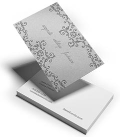 silver metallic ink business card