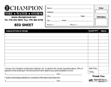 bid sheet form