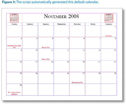 InDesign Calendar example